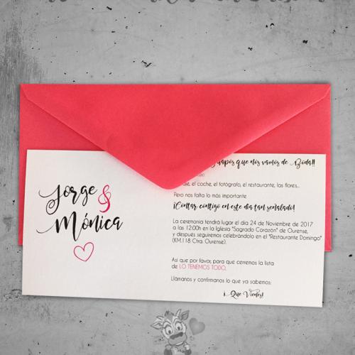 Detalles de boda en papel invitación