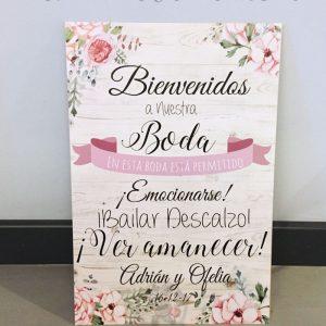 Detalles de boda en papel bienvenidos cartel