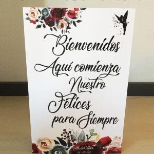 Cartel de boda bienvenidos campanilla