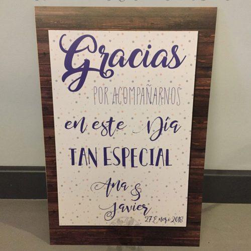Cartel de boda bienvenidos azul y madera