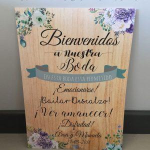 Cartel de boda bienvenidos flores azules