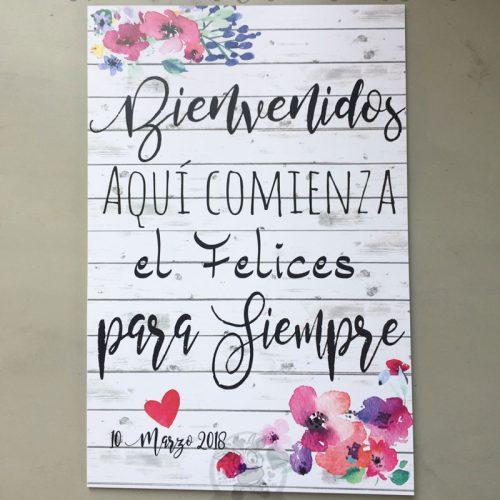 Cartel de boda bienvenidos flores de colores