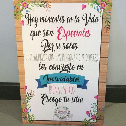 Cartel de boda bienvenidos momentos especiales