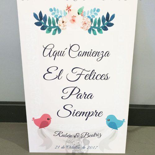 Cartel de boda bienvenidos pajaros