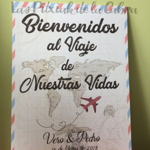 Cartel de bodas bienvenidos al viaje de nuestras vidas viajero