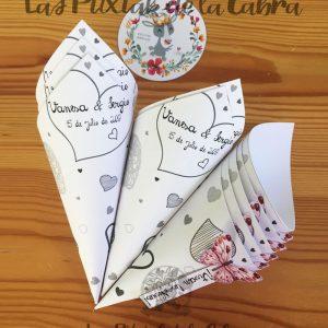 onos para pétalos y arroz de bodas con diseño personalizado