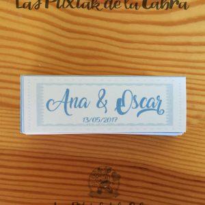 Detalles de boda en papel con diseño personalizado