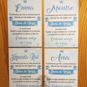 Diplomas para las láminas de damas de honor de boda