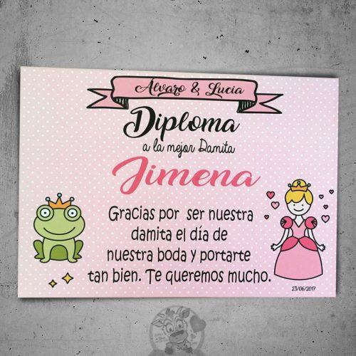 Diploma para damitas de boda princesas