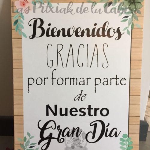 Cartel de bienvenida a boda gran día