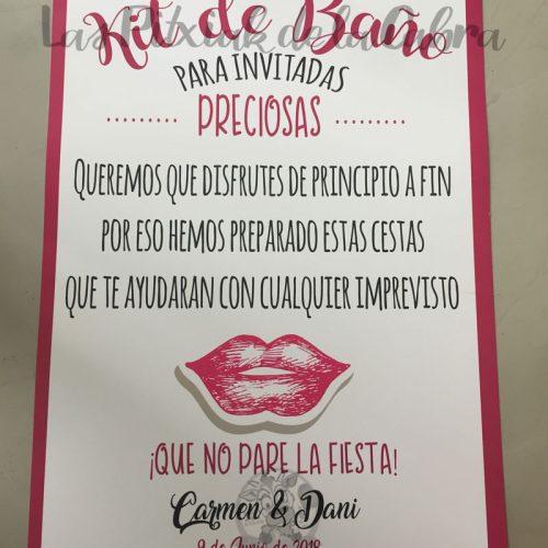 Cartel para baños de boda rosa y labios