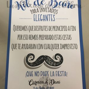 Cartel para baños de boda azul y bigote