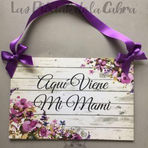 Cartel para avisar de la llegada de la novia viene mi mami