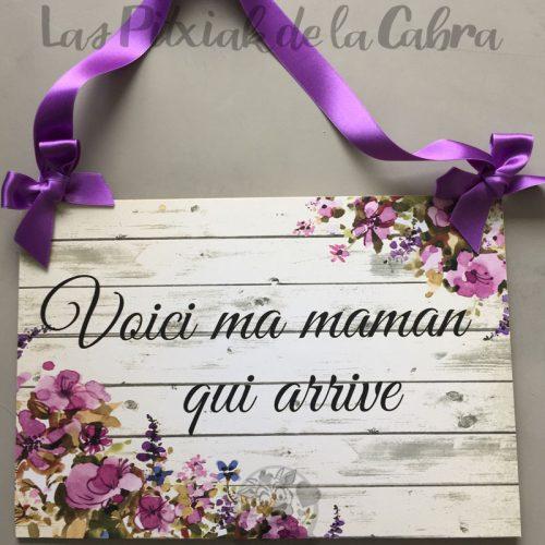 Cartel para avisar la novia en francés lazo morado