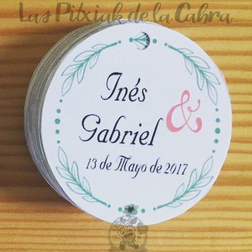 Etiquetas para detalles de boda redondas