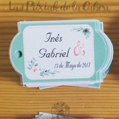 Etiquetas para detalles de boda alargadas