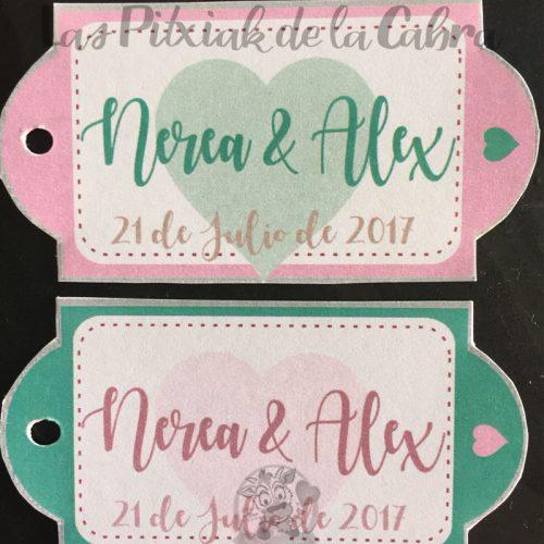 Etiquetas para detalles de boda corazón en dos colores