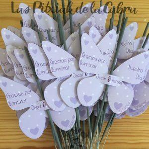 Bengalas para detalles de boda con mariposas moradas