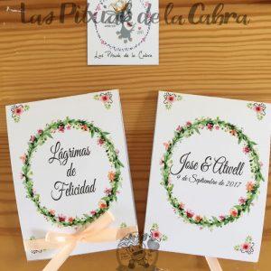 Lágrimas de felicidad, pañuelos para bodas con corona de flores