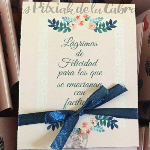 Lágrimas de felicidad, pañuelos para bodas para los que se emocionan lazo azul