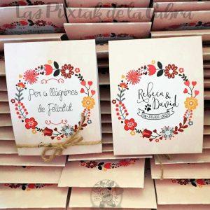 Lágrimas de felicidad en catalán con logo de los novios para bodas
