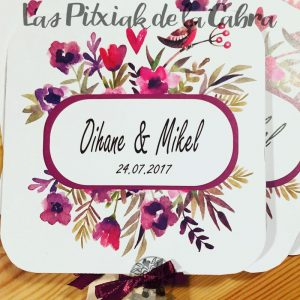Pai pai para bodas con diseño estampado de flores