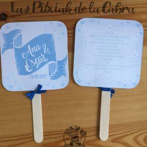 Pai pai para bodas con diseño azul y guión de la ceremonia