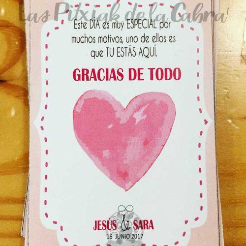 Tarjetas de agradecimiento para bodas gracias de corazón