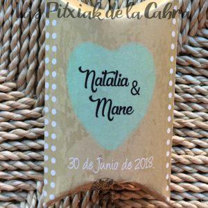 Caja de arroz para boda con instrucciones corazón