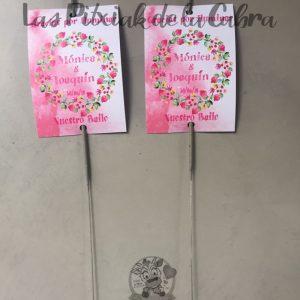Bengalas rosas de boda con diseño de fruta y flores