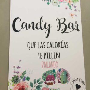 Cartel candy bar con calorias divertidas