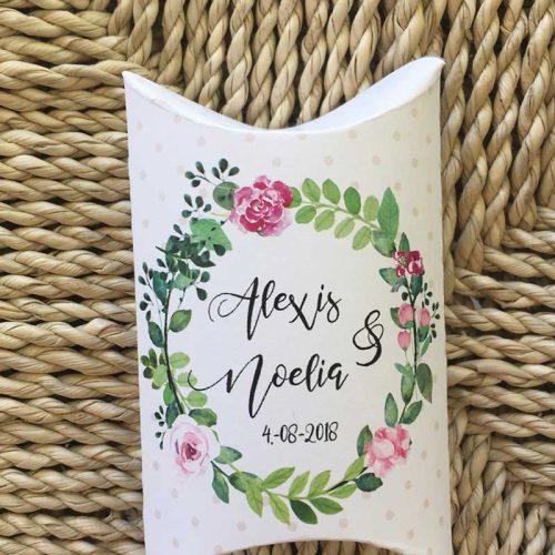 Cajita de arroz para bodas con instrucciones nombres de novios