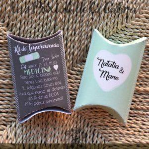 Cajitas de supervivencia bodas en dos colores