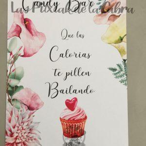 Cartel para bodas candy bar calorías cupcake bailando