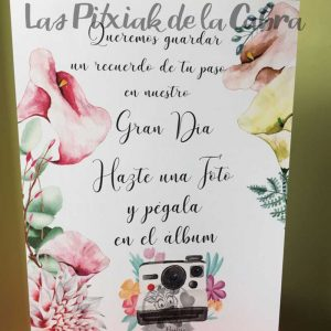 Cartel para bodas polaroid con calas