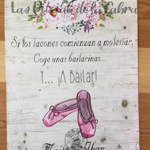 Cartel para bodas bailarinas y a bailar flores