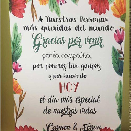 Cartel bienvenida de agradecimiento para bodas colorido