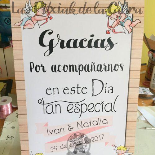 Cartel para bodas gracias por acompañarnos angelitos