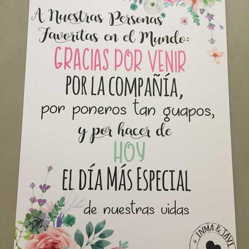 Cartel para bodas bienvenida hoy es un día especial