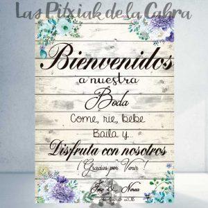 Cartel bienvenidos a nuestra boda azules