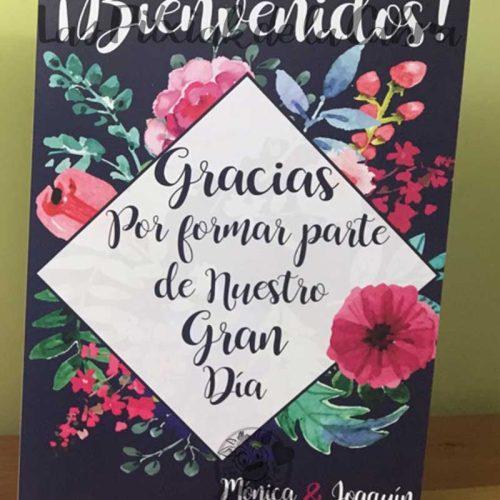 Cartel para bodas bienvenidos gracias por formar parte flores de acuarela