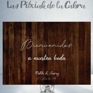 Cartel bienvenida para bodas en madera y blanco