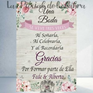 Cartel para bodas una boda se vive tres veces
