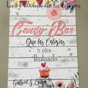 Cartel para bodas candy bar festivo madera