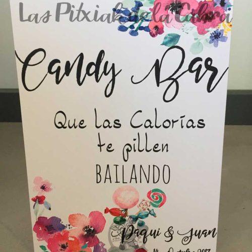 Cartel para bodas candy bar calorías estampado