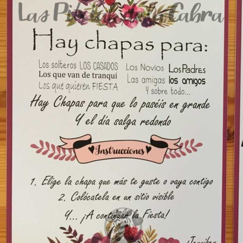 Cartel para bodas hay chapas instrucciones moradas