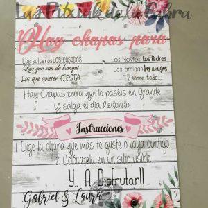 Cartel para bodas chapas festivas en madera