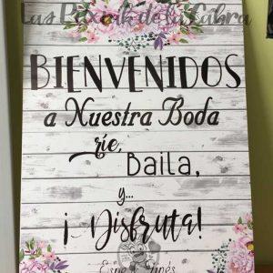 Cartel bienvenidos disfruta de nuestra boda acuarela y madera