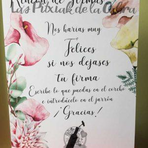 Cartel para bodas firmas en corcho