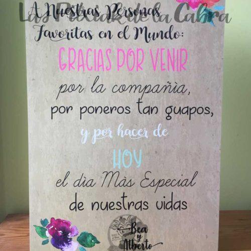Cartel bienvenida con texto de agradecimiento para bodas